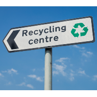Recycle centre sign post