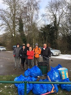 Litter pickers at Dyscarr Wood, Langold